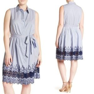 NWT Sharagano Pinstripe Lace Trim Dress